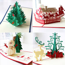 3D Pop Up Christmas Cards Handmade Holiday Greeting Card Postcard Family Xmas 1 Of 12FREE Shipping