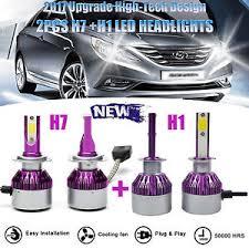 4x400w h1 h7 combo led headlight bulbs kit hi lo beam for hyundai