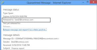Find and release quarantined messages as an end user Exchange