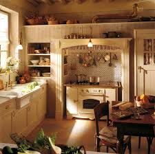 Small Rustic French Country Style Kitchen Ideas With White Wooden Cabinet And Wall Mounted Utensils Above Stove Plus Built In Storage