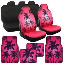 Pink High Back Palm Tree Car Seat Cover Full Rear Bench And Palm Tree Floor  Mats | EBay