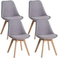 deuline 4x esszimmerstühle esszimmerstuhl küchenstuhl sgs zertifiziert massivholz beine polsterstuhl retro design stühle lehnstuhl oslo grau