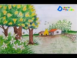 Easy Spring Scenery Drawings For Kids Using Pencil Colour
