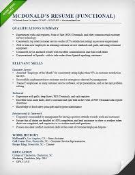 McDonalds Shift Manager Functional Resume