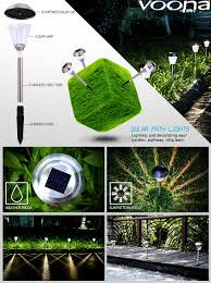 Solar Halloween Pathway Lights by Amazon Com Voona Solar Led Outdoor Lights 8 Pack Stainless Steel
