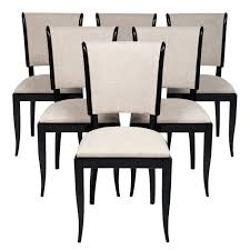French Set Of Six Vintage Art Deco Dining Chairs
