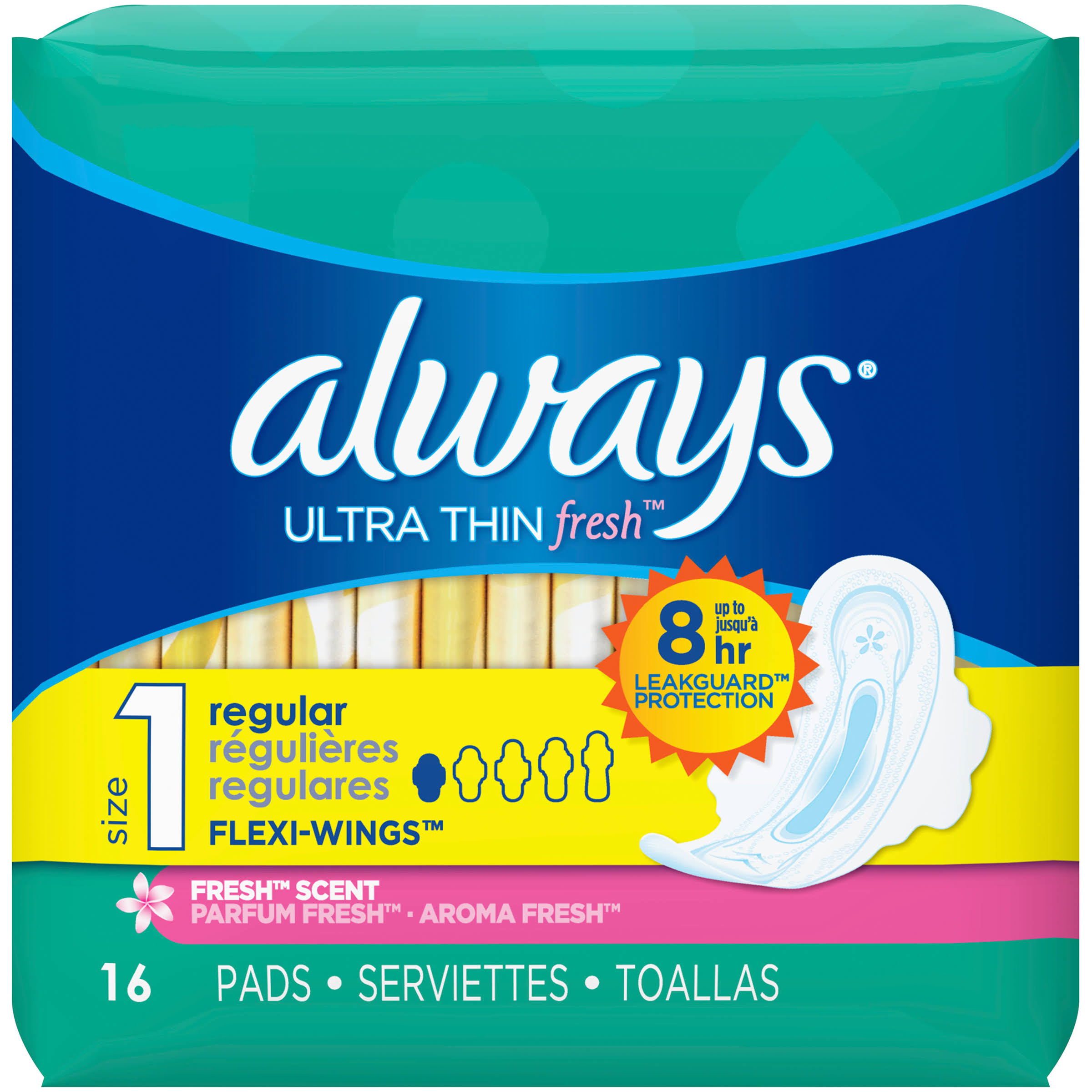 Always Fresh Ultra Thin Flexi-Wings Regular Pads - 16ct