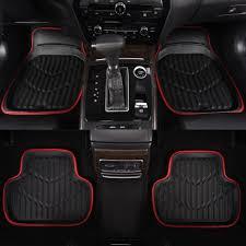 100 Heavy Duty Truck Floor Mats Car BlackRed Universal Fit Driver Passenger Seat Ridged Rubber Car