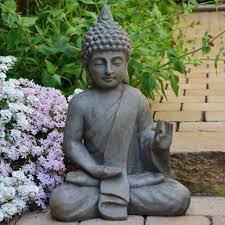 buddha antik massiv steinfigur skulptur feng shui deko statue