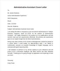 Administrative Position Cover Letter 20 Assistant Example Cover