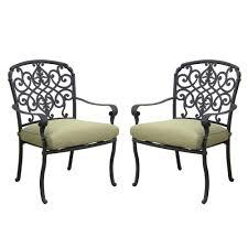 Hampton Bay Patio Furniture Cushion Covers by Hampton Bay Edington Cast Back Pair Of Patio Dining Chairs With