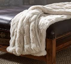Ruched Faux Fur Throw Ivory