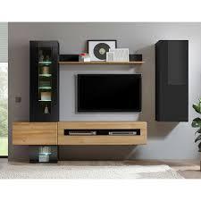 wohnzimmer schrankwand in schwarz hochglanz und wildeiche optik modern 6 teilig