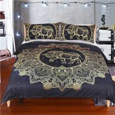 Black and Gold Flower with Elephant Mandala Duvet Cover – That