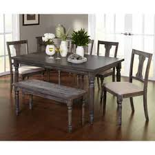 The Gray Barn Barish 6 Piece Burntwood Dining Set With Bench