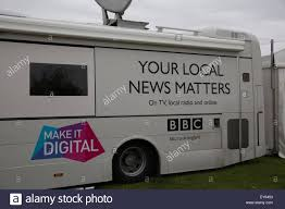 Knutsford UK 22nd July 2015 BBC News Truck At The RHS Flower Show Tatton Park Credit Keith Larby Alamy Live