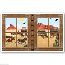 Halloween Scene Setters Uk by Wild West Saloon Bar Scene Setter Prop Cowboy Window Ebay