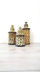 Cheetah Bathroom Rug Set by 3pc Canister Set Laurie Gates Designs La Pottery Matching