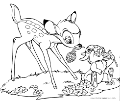 Bambi And Thumper Color Page Disney Coloring Pages Plate