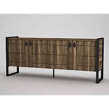 alphamoebel 4630 lost sideboard moderne kommode schrank mit metallfüße 4 türen viel stauraum 4 regalablagen für wohnzimmer holz walnuss 185 x