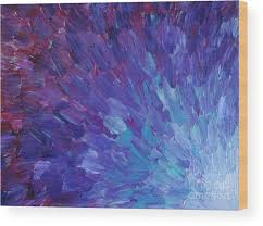 Purple Sea Scales Wood Print Featuring The Painting Of A Different Color By Julia Di
