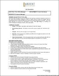 Front Office Job Resume by Front Office Manager Resume Sample Free Samples Examples