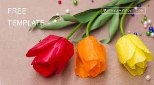 Tissue Paper Tulip Tutorial And Free Template Paperflowers Flowertutorial Flowertemplate