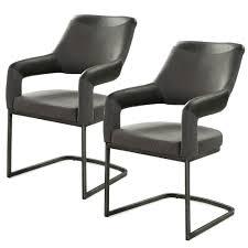 2er set 6002456 schwarz grau microfaser kunstleder stuhl schwingstuhl esszimmerstuhl küchenst