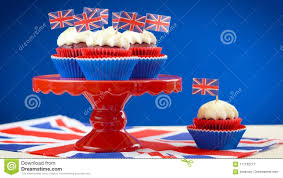 Red White And Blue Theme Cupcakes Cake Stand With UK Union Jack Flags