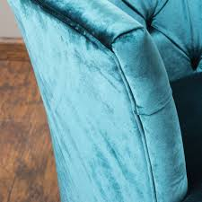 anabella teal blue tufted velvet sofa chair great deal furniture