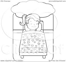 Cartoon Clipart Of A Black And White Little Girl Dreaming Sleeping In Bed Vector Outlined Coloring Page By Cory Thoman