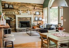 Eclectic Perky Living Room And Warm Cozy Furniture Also Wood Wall Paneled Stacked Stone Fireplace Grass Green Color Open Plan Concept With