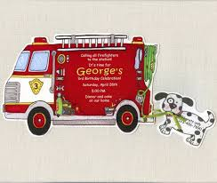 FIRE TRUCK BIRTHDAY Party Invitations - Handmade And Personalized ...