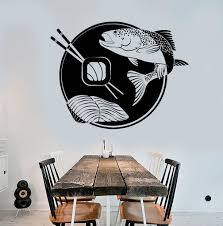 Vinyl Wall Decal Sushi Bar Fish Japanese Food Asian Restaurant Stickers Unique Gift Ig4705