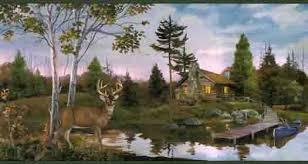 Buck By The Cabin Wallpaper Border
