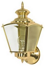 polished brass and clear beveled glass exterior wall light fixture