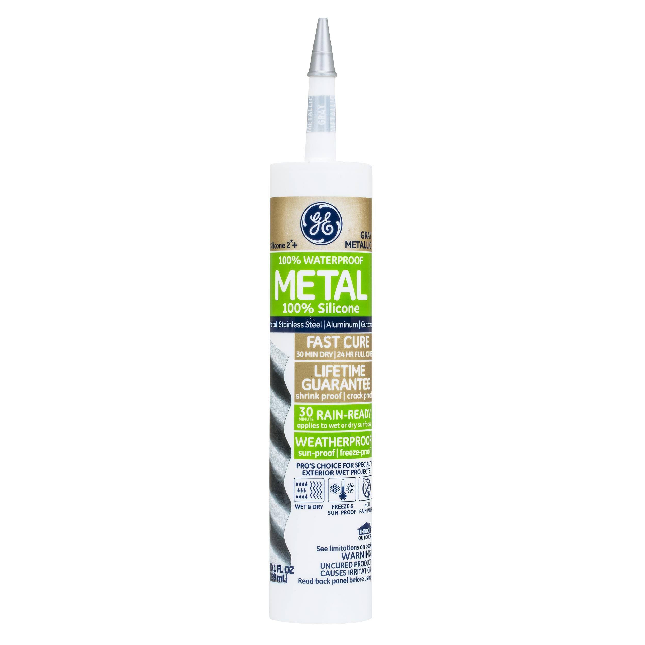 General Electric Aluminum and Metal Metallic Silicone II Caulk - 9.8oz, Grey