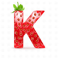 Strawberry Style Font Letter K Vector Illustration Of Signs