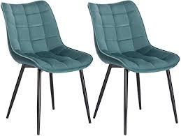 2er set küchenstuhl mit rückenlehne aus samt metallbeine elif