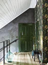 Modern Victorian floral wallpaper green door