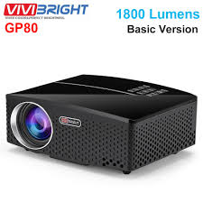 100 Bright Home Theater US 6399 20 OFFVIVIBRIGHT GP80 LED 1800 Lumens HD Mini Portable Projector For Cinema Supprot 1080P USB HDMIin Projector Accessories