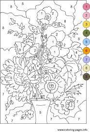 Color By Number For Adults Flowers Coloring Pages