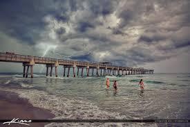A154 Juno Beach Pier Lightning Storm Ocean Girls