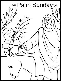 Printable Happy Easter Jesus Arrives On Palm Sunday Coloring Pages Pictures