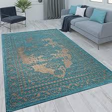 paco home orient kurzflor teppich wohnzimmer moderne vintage optik türkis beige grösse 160x230 cm