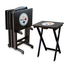 Steelers Bathroom Rug Set by Nfl Pittsburgh Steelers Tv Tray With Stand Set Of 4 Bed Bath