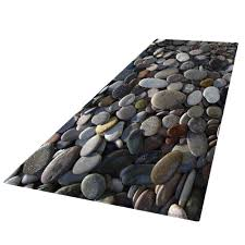 küchenläufer waschbar rutschfest teppichläufer küchenteppich küche läufer fußmatte modern 60x180cm kieselsteine bodenmatte 3d