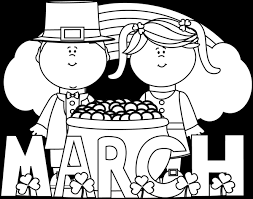 Black and White Month of March Saint Patrick s Day Clip Art