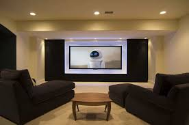 Simple Basement Home Theater For Comfy Design : Basement Design ... Basement Home Theater Dilemma Flatscreen Or Projector In Seating Theatre Build Pics On Mesmerizing Choosing A Room For Design Hgtv And Basement Home Theater 10 Best Systems Decorations Luxury Design Ideas Awesome Cinema Small 5 Unfinished Decoration Live Bar White Furry Rug Fabric Sofa Basics Diy Theaters Media Rooms Pictures Tips Interior