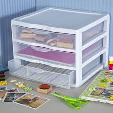 Plastic Drawers On Wheels by Sterilite Wide 3 Drawer Unit White Available In Case Of 3 Or